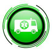 ambulance green circle glossy icon
