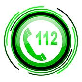 emergency call green circle glossy icon