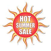 hot summer sale in sun label