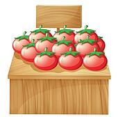 A tomato stand with an empty wooden signboard