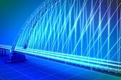wireframe 3d  render of a bridge