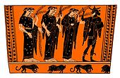 Ancient greek vase: Hermes with Nymphs