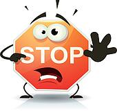Stop Road Sign Icon Character