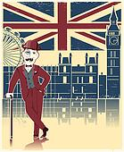 Gentleman in black bowler hat and cane.Vintage London background