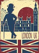 English gentleman in black bowler hat and cane.Vintage London ba