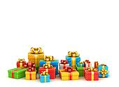 Colored gift boxes with copyspace