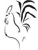 stylized cock on the white background