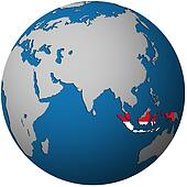 indonesia on globe map