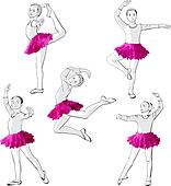 Ballerinas little girls dancing children