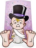 Cute New Years Eve Baby Cartoon