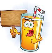 Orange Juice Character Holding Sign
