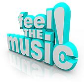 Feel the Music 3D Words Listen Song Sounds Dance