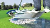 Yacht golf concept metaphor.Yacht hit by a golf club. Kick off.