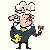 cartoon sheep judge with a gavel and law book