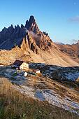 Dolomites mountain panorama in Italy at sunset - Tre Cime di Lavaredo