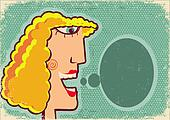 Woman face cartoon with bubble on old poster texture,Vector back