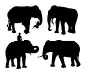 realistic silhouettes of asian elephant set
