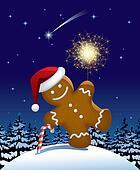 Gingerbread man wih a sparkler