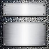 Brushed steel plate over black metall background for your design