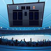 Hockey Stadium. Background with Empty Scoreboard