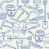 Illustration of gardening tools doodles on squared paper seamless pattern