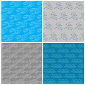 Set of Seamless Waves Background - Marine Theme - in vector