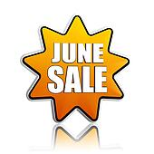 June sale yellow star banner