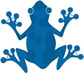 Blue Spotted Frog Silhouette Logo