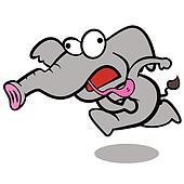 humor cartoon elephant running with white background