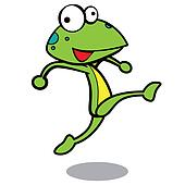 humor cartoon frog running with white background