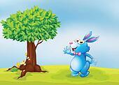 A blue bunny beside a tree