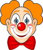 smiling clown with red bow