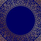 oriental blue frame with gold ornam