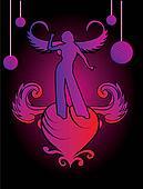 heart angel girls vector art