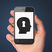 Information concept: Head Whis Keyhole on smartphone