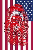 Turkish Flag Fingerprint with USA Flag