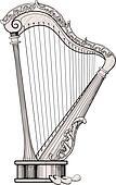 decorated harp
