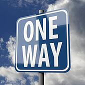 Road sign blue with words One Way