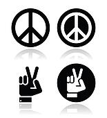 Peace, hand gesture vector icons