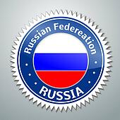 Russia flag label