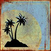 Rusty sign with palm trees