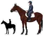 Horse with lady jockey