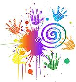 Hands and ink grunge swirly vector