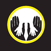 Mother or father child's hands together- concept vector graphic