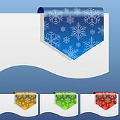 Blank winter discount labels bent around paper edge with snowfla