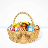 Big Easter Basket with Eggs. Illustration