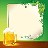 Mug of Beer and Poster. St. Patrick's Day Template