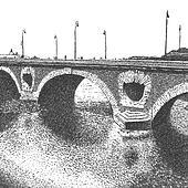 artistic drawing of an old brick bridge