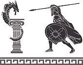 Ancient hero and dragon