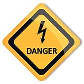 Vector illustration label electricity hazard